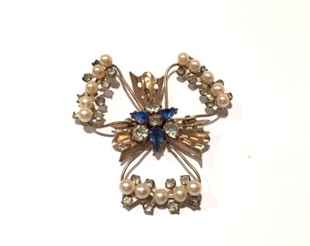 Vintage Scitarelli Faux Pearl And Rhinestone Brooch From The 1950s