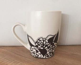 Floral abstract hand decorated mug