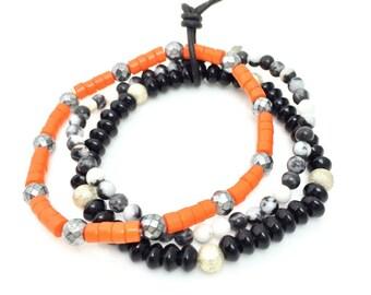 Lifegurad Trio • Bracelet Stack • Gemstone Bracelets • Unisex Bracelets • Arm Candy • Men's Bracelets • Men's Jewelry •halloween Gift