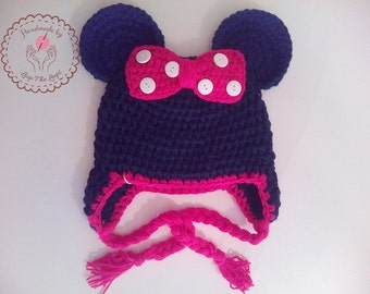 minnie mouse hat, minnie mouse crochet hat, disney hat, animal hat, knitting hat, handmade crochet hat, beanie hat, winter hat, wholesale