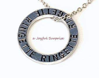 Ringette Circle Necklace, Silver Ringette Jewellry Affirmation Circle, Pewter Ringette Mom Charm, Ringette Gift for Ringette Player Gift