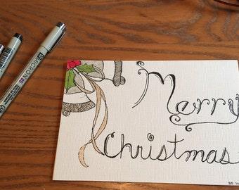 Christmas card, hand drawn doodle art