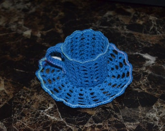 Blue Lace Teacup and Saucer