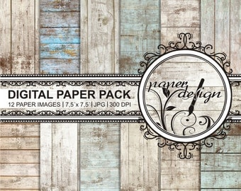 Vintage Shabby chic digital paper with rustic wood wood grain background paper wood textures printable background Scrapbook Paper #18