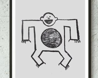 Black and White, Nursery Print, Monkey, Animal Print