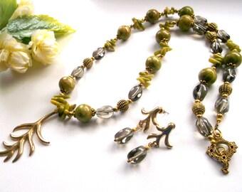 Jewelry set green gem necklace twig necklace twig earrings kunzite green stud light green kunzite coral necklace smoky quartz necklace