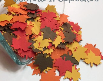 Thanksgiving Party Decor, Autumn Leaf Confetti, maple leaves decorations, party table confetti, fall confetti, table scatter, fall wedding