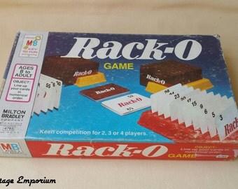Game ~ Rack-O Game ~ Card Game ~ Milton Bradley ~ 1961 Regular Rack-O ~ Bonus Rack-O ~ Number Game ~ Ages 8 & Up ~ Seths Vintage Emporium