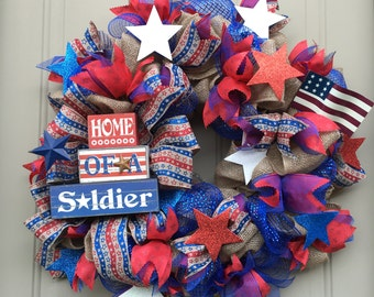 Home of a Soldier Patriotic Wreath by Sharyn Kaye