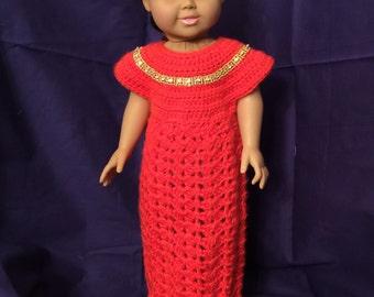 "American Girl Orange Doll gown for 18"" dolls"