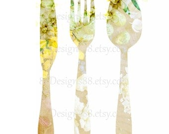 Celery Green Kitchen Art, Knife Fork Spoon, Kitchen Printable, Printable Gift, Home Decor, light green floral art