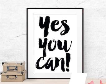 Yes you can Classroom posters Inspirational classroom quote Classroom printable art Teacher classroom decor Classroom wall art for classroom