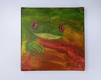 Frog - red-eyed tree frog - acrylic on canvas - original artwork unique 15 x 15 cm