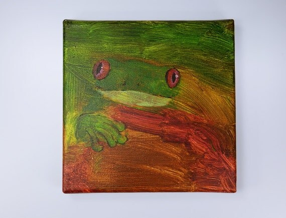 Frog-Roach frog-Acrylic on canvas-Original artwork 15 x 15 cm unique