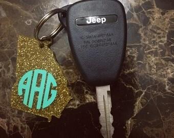 "2"" Glitter Gold Acrylic Monogram Keychains"