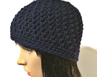 Blue Beanie Hat, Navy Blue Hat, Crochet Beanie, Blue Beanie, Crochet Hat, Winter Hat, Blue Beanie Hat, Crochet Beanies, THE ACADIA