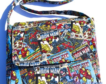 Iron Man Fabric 'Archie' Messenger Bag, fabric messenger bag, handmade messenger bag