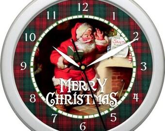 "Santa Claus Custom Personalization Available 10"" Merry Christmas St. Nicholas Santa Wish List Wall Clock"