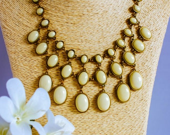 Necklace, vintage necklace, 1960s necklace, multi bead necklace, cream and gold necklace, bib necklace, boho necklace