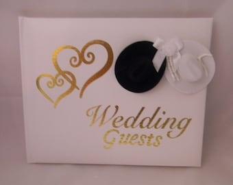 Wedding Reception Ceremony Party Western Cowboy Hats Guest Book Gold Hearts