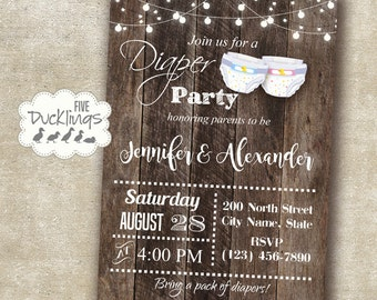 Diaper party invitation, couples shower invite, diaper baby shower, Printable Digital Invitation, A319