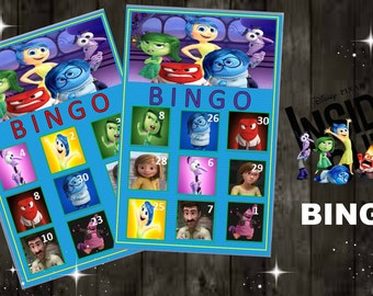Disney Inside Out Bingo Game with 10 unique Bingo cards and 30 medium calling cards - , INSTANT DOWNLOAD