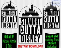 3 SVG Designs, Straight Outta Disney svg files, Straight Outta Disney clipart, disney svg files, disney vector, dxf, disney cuttable file