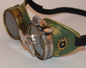 Green and Gold Steampunk Goggles with Gold Gears and Magnifying Loupes