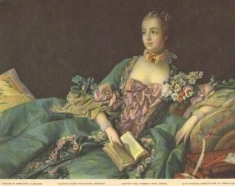 Madame de Pompadour 1937 Vintage Litho from 1759 Boucher Painting