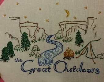 """Hand embroidery, tea towel, Great Outdoors, cotton flour sack towel, kitchen towel, 28""""x28"""" with built in hanger, handmade"""