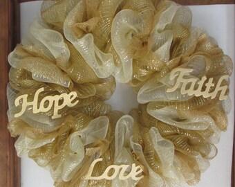 Faith Hope Love Wreath Wedding Wreath Anniversary Wreath Religious Wreath Gold Wreath