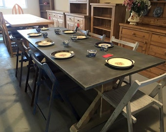 Industrial Zinc Table with Reclaimed Pine Base + 8 Vintage Distressed Chairs