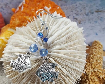 Reef fish with blue crystal dangle earrings