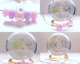 Pretty Pastels Lampwork Bead Bracelet SRA