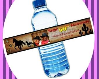 Western Theme Water Bottle Label