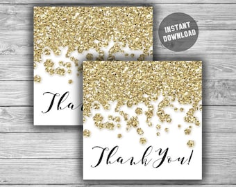 Bridal Shower Thank You Tags - PRINTABLE - INSTANT DOWNLOAD - Gold - Glitter - Gold Bridal Shower Tags - L14