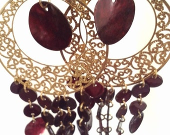 Big Beautiful Red & Gold Earrings