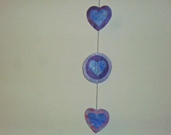 Paper Mache Hearts & Cirlces Hanging Decoration