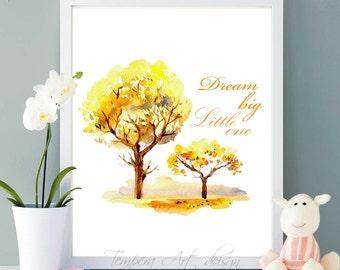 Dream Big Little One, Nursery Decor, Trees Nursery Decor, Watercolor Art, Nursery Art, Quote Print, Printable Wall Art, Wall Decor Printable