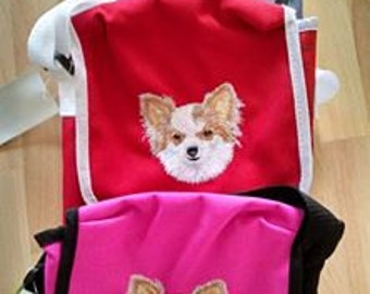 Embroidered Long Haired Chihuahua-Papillon Shoulder Bag