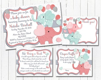 Coral mint Elephant baby shower printable invitation set baby girl digital invite with inserts thank you bring a book Diaper Raffle card