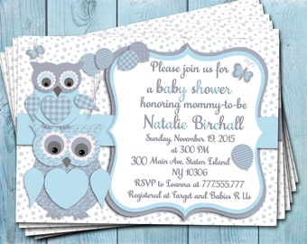 Blue grey owl baby shower printable invitation baby boy digital invite personalized invitation party invite DIY birthday card