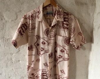 Vintage Hawaiian Shirt / Cotton / Cream / Island Print / Medium / Made in Hawaii