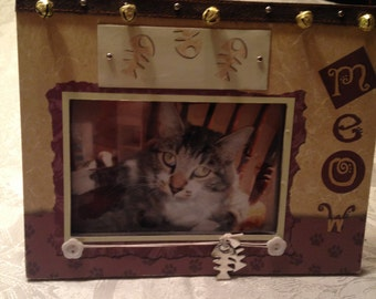 Funky meow cat frame 4x6. Put your own cat picture in!