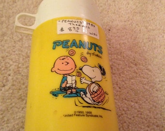 Vintage peanuts Charlie Brown and snoppy 1958 thermos brand