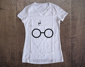 HARRY POTTER Inspired Shirt, Harry's Scar and Glasses Shirt, Harry Potter Gift, Harry Potter Fandom, Ladies' V-Neck S M L Xl