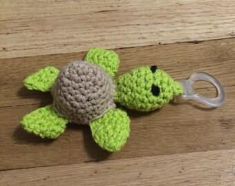 Sea turtle pacifier clip
