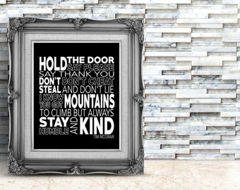 Tim McGraw Quote,  Mountains to Climb, Digital Print, Printable Art, Nursery Art, Kids Art, Black, White, kids Prints, Quote, typography