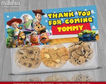 Toy Story Custom Favor Bag - Disney Pixar Toy Story Topper Label - Toy Story Birthday decoration - Woody Buzz LightyearParty