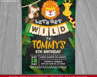 Zoo Invitation - Jungle Invite - Zoo Birthday Invitation - Jungle Animals Birthday Party - Zoo Jungle Invite Lion Monkey